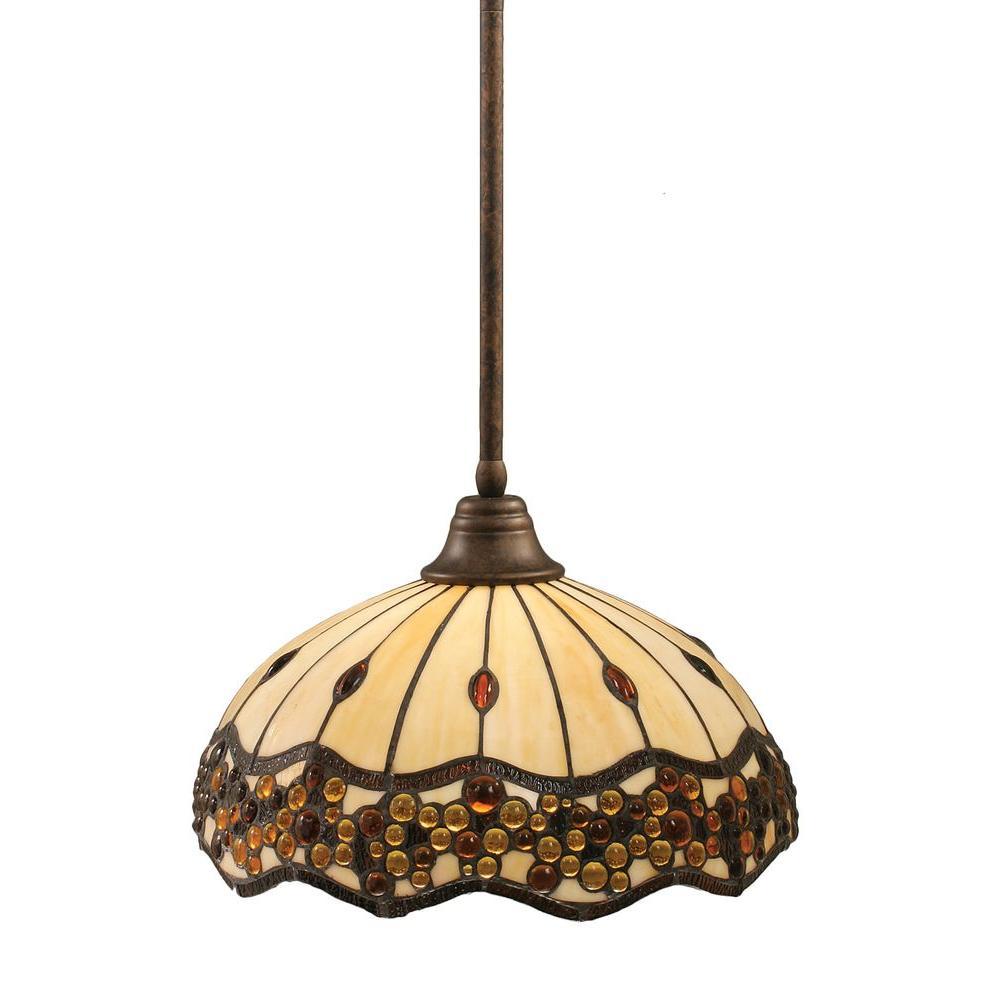 Concord 1-Light Bronze Pendant with Roman Jewel Tiffany Glass