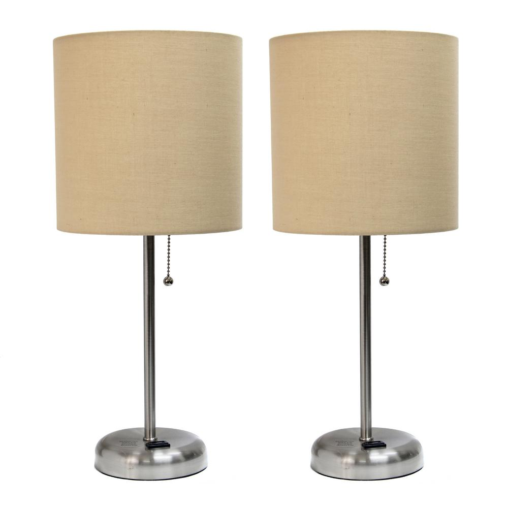 19.5 in. Brushed Steel and Tan Stick Lamp with Charging Outlet and Fabric Shade (2-Pack)