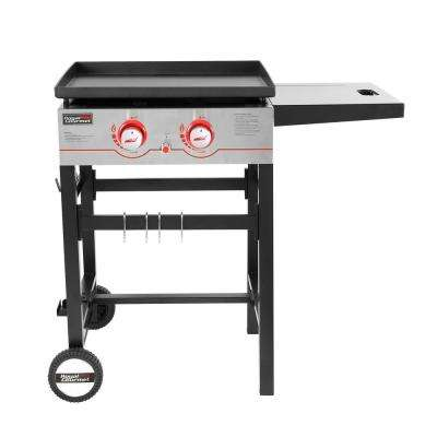 2 Burner Propane Gas Grill Griddle with Fixed Side Tables