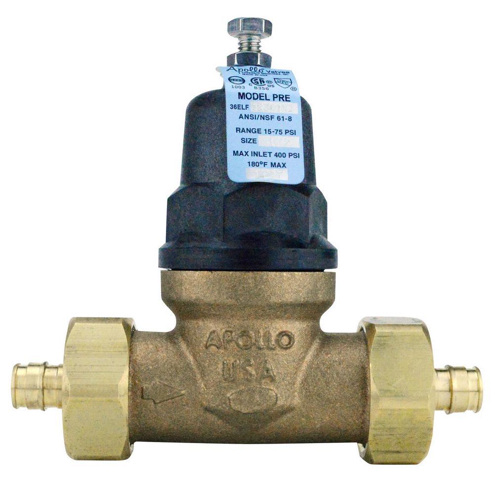 1/2 in. Bronze Double Union PEX-A Barb Water Pressure Regulator