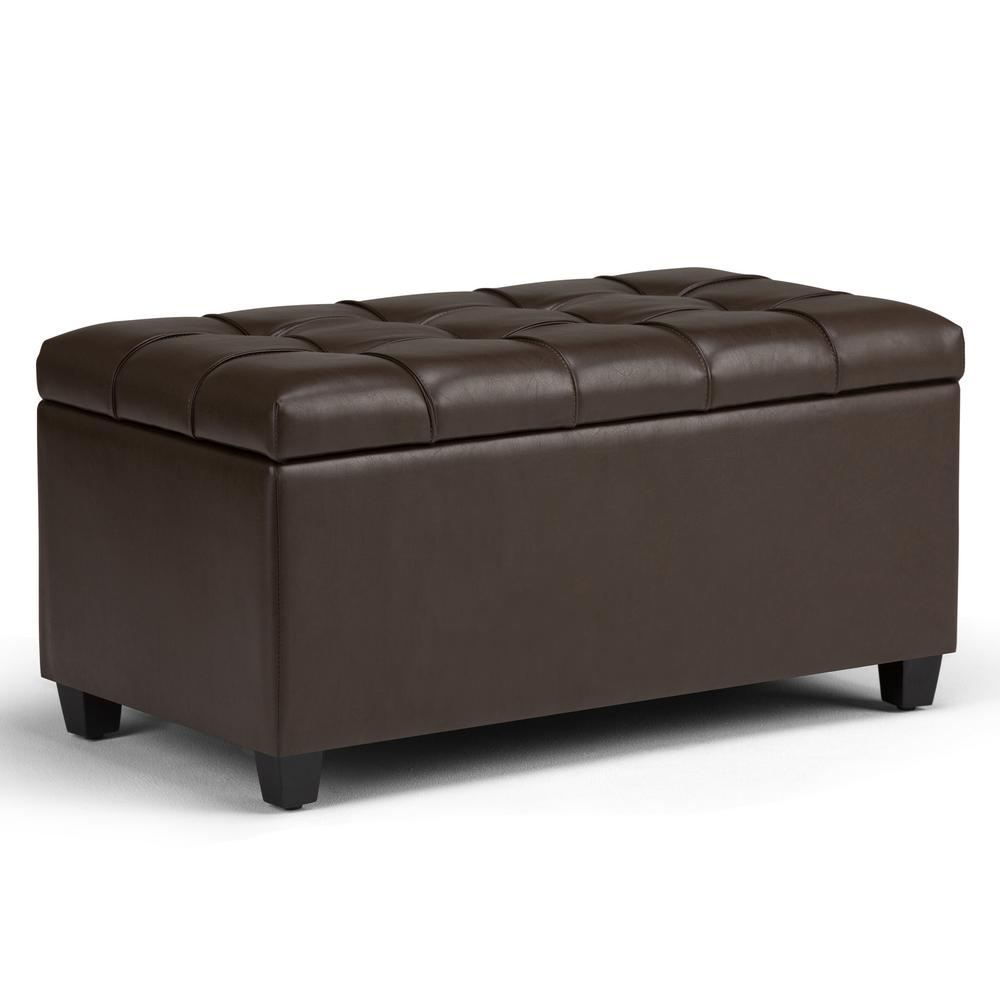 Simpli Home Sienna Chocolate Brown Pu Faux Leather Storage Ottoman