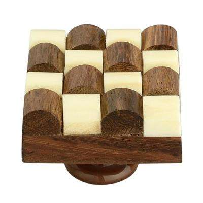 Fusion Checkered 1-1/3 in. (34 mm) Cream and Brown Cabinet Knob