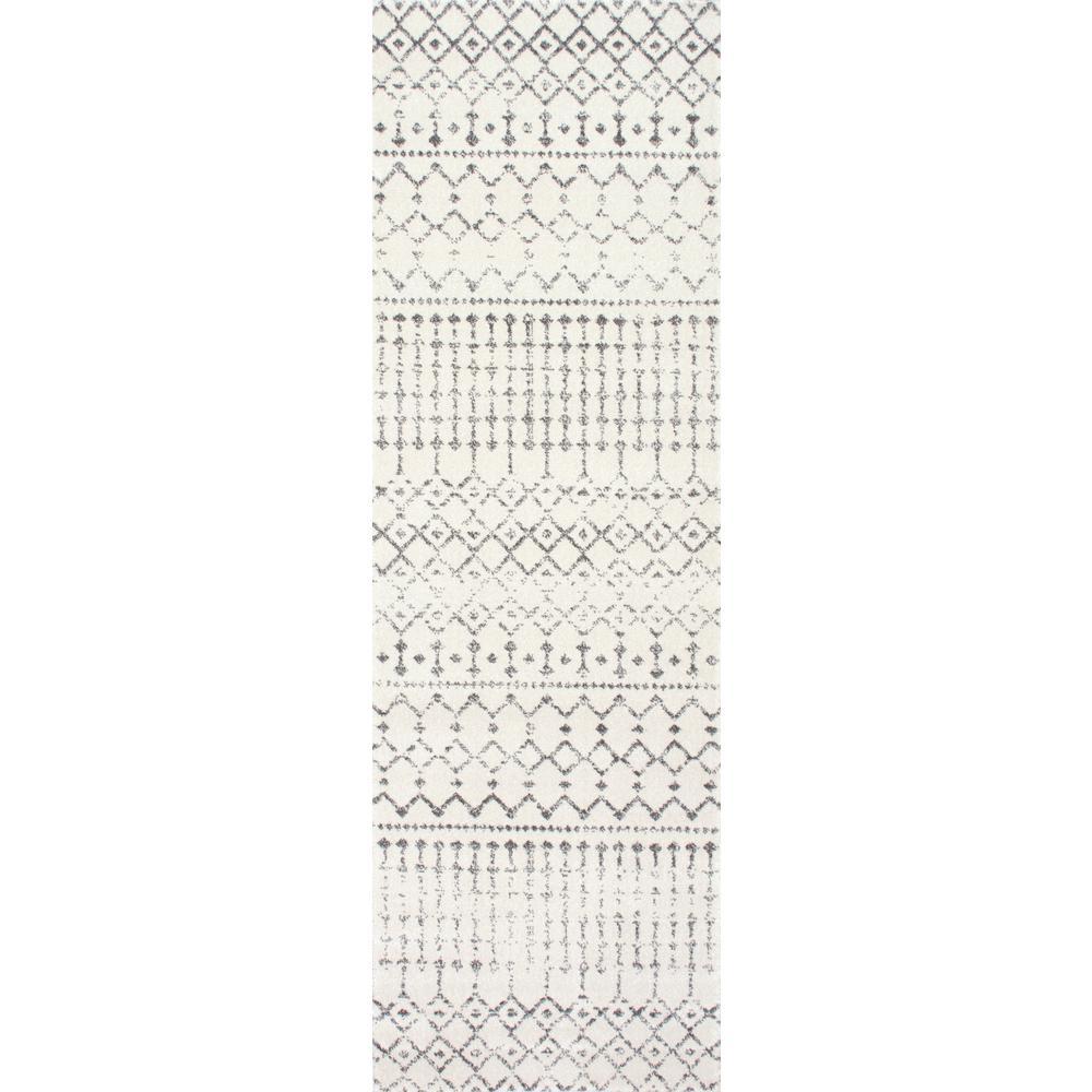 Moroccan Blythe Grey 2 ft. 8 in. x 20 ft. Runner Rug