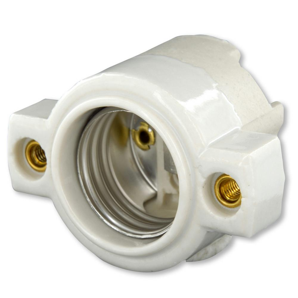 Ge Medium Base Keyless White Porcelain Lampholder 18304 The Home Depot Wiring A Light Fixture