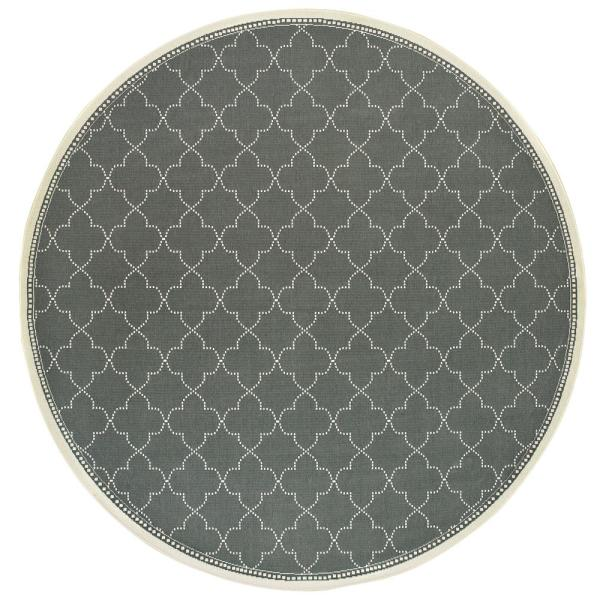 Sienna Quatrefoil Grey-Ivory 7 ft. 10 in. x 7 ft. 10 in. Round Indoor/Outdoor Area Rug