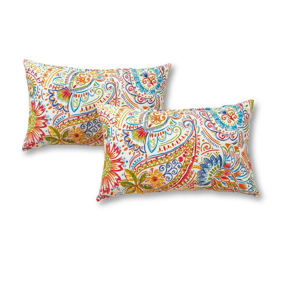 Greendale Home Fashions Jamboree Paisley Lumbar Outdoor Throw Pillow (2-Pack)