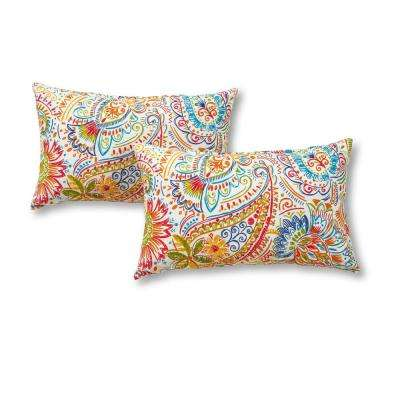 Jamboree Paisley Lumbar Outdoor Throw Pillow (2-Pack)