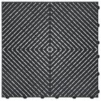 15.75 in. x 15.75 in. Black Ribtrax Smooth ECO Flooring, (6-Tile/Pack) (10 sq. ft.)