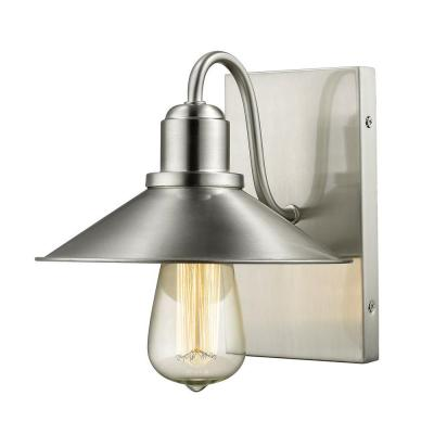 Niven 1-Light Brushed Nickel Modern Sleek Wall Sconce with Brushed Nickel Steel Shades