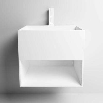 Novara All in One Solid Surface Pedestal in Matte White