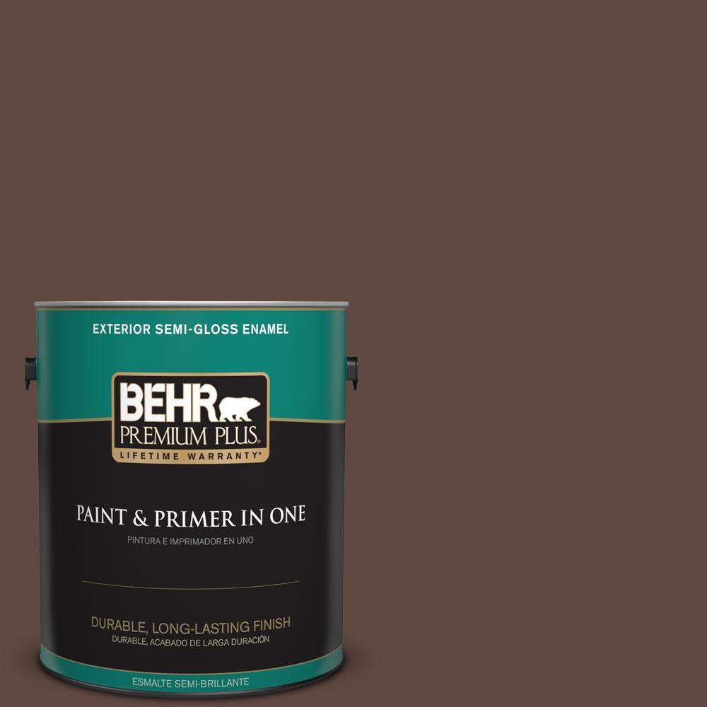1-gal. #N150-7 Chocolate Therapy Semi-Gloss Enamel Exterior Paint