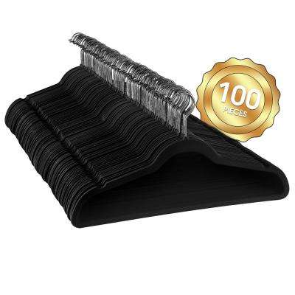Velvet Slim Profile Black Clothes Hangers with Stainless Steel Swivel Hooks (100-Pack)