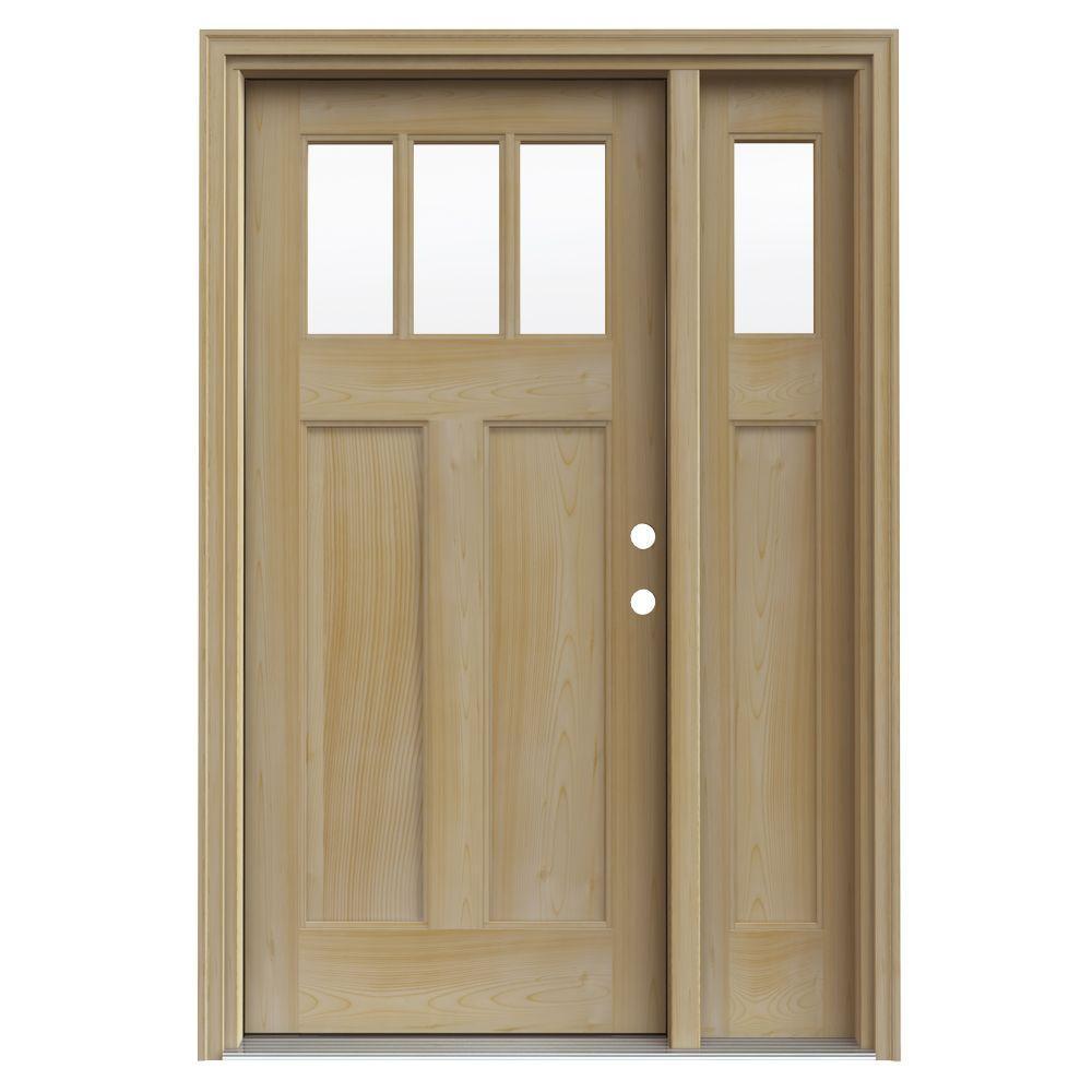 JELD-WEN 3 Lite Craftsman Unfin AuraLast Pine Wood Prehung Front Door with 14 in. Sidelites & Unfin Jamb & Brick-DISCONTINUED