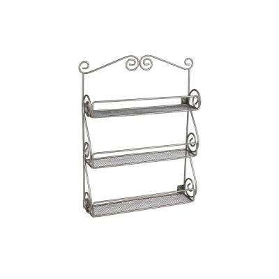 Scroll Wall Mount Nail Polish Holder in Satin Nickel Powder Coat