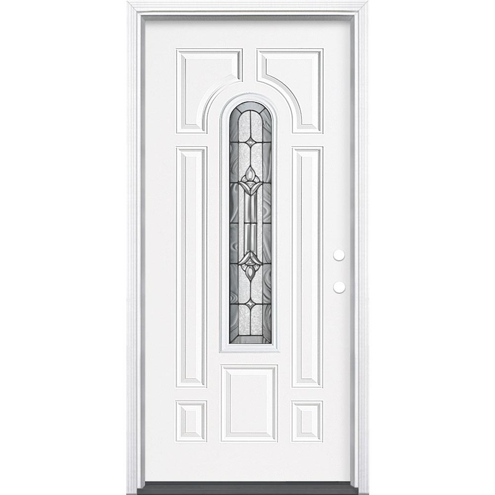 Masonite 36 in. x 80 in. Providence Center Arch Primed White Left Hand Inswing Steel Prehung Front Exterior Door with Brickmold