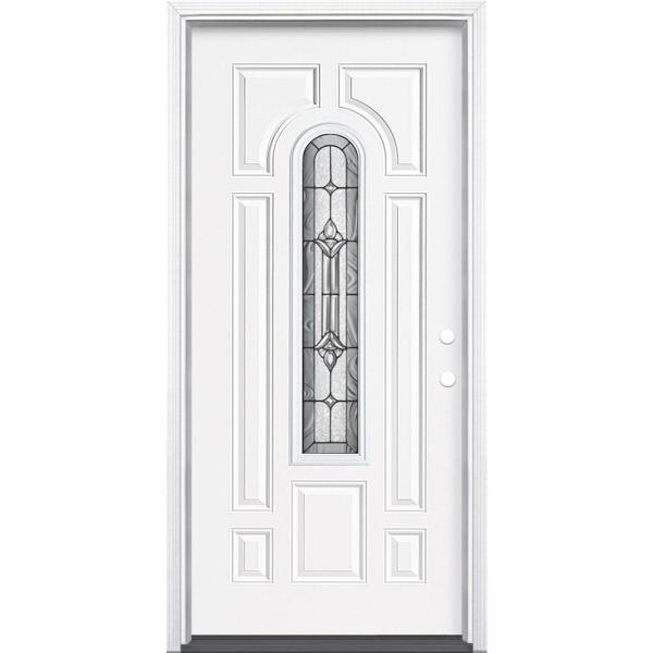 36 in. x 80 in. Providence Center Arch Primed White Left Hand Inswing Steel Prehung Front Exterior Door with Brickmold