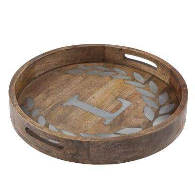 "20 in. D ""L"" Mango Wood Round Tray"