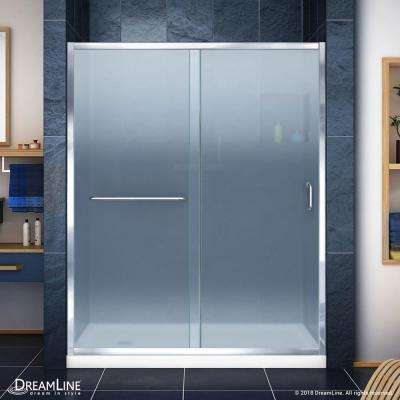 Infinity-Z 30 in. x 60 in. Semi-Frameless Sliding Shower Door in Chrome with Left Drain White Acrylic Base