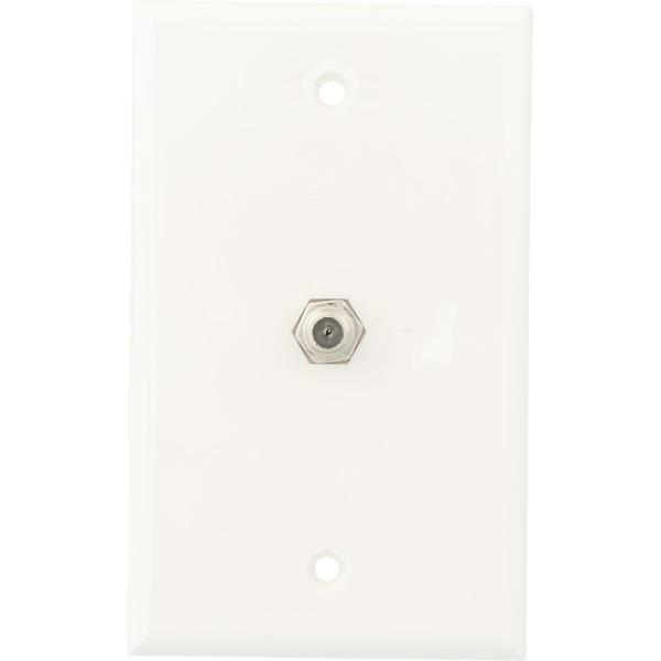 Coaxial Cable Wall Jack, White