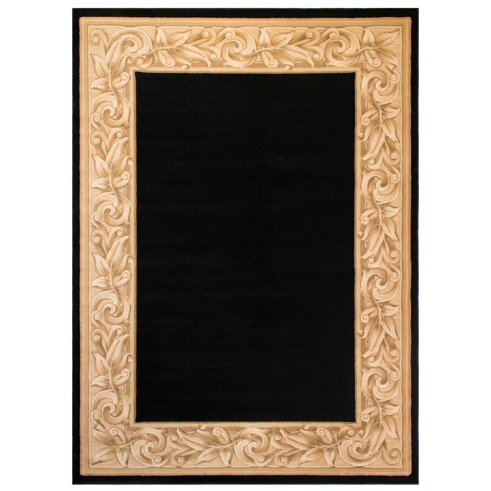 BALTA Elegant Embrace Black 5 ft. x 7 ft. Area Rug