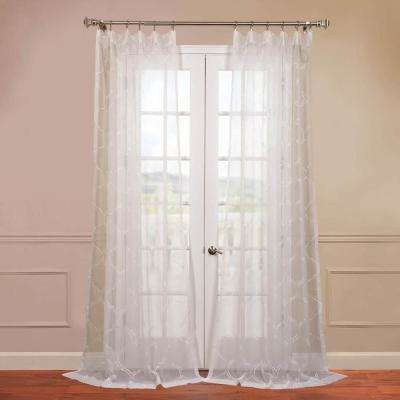 Florentina Embroidered Sheer Curtain in White - 50 in. W x 96 in. L
