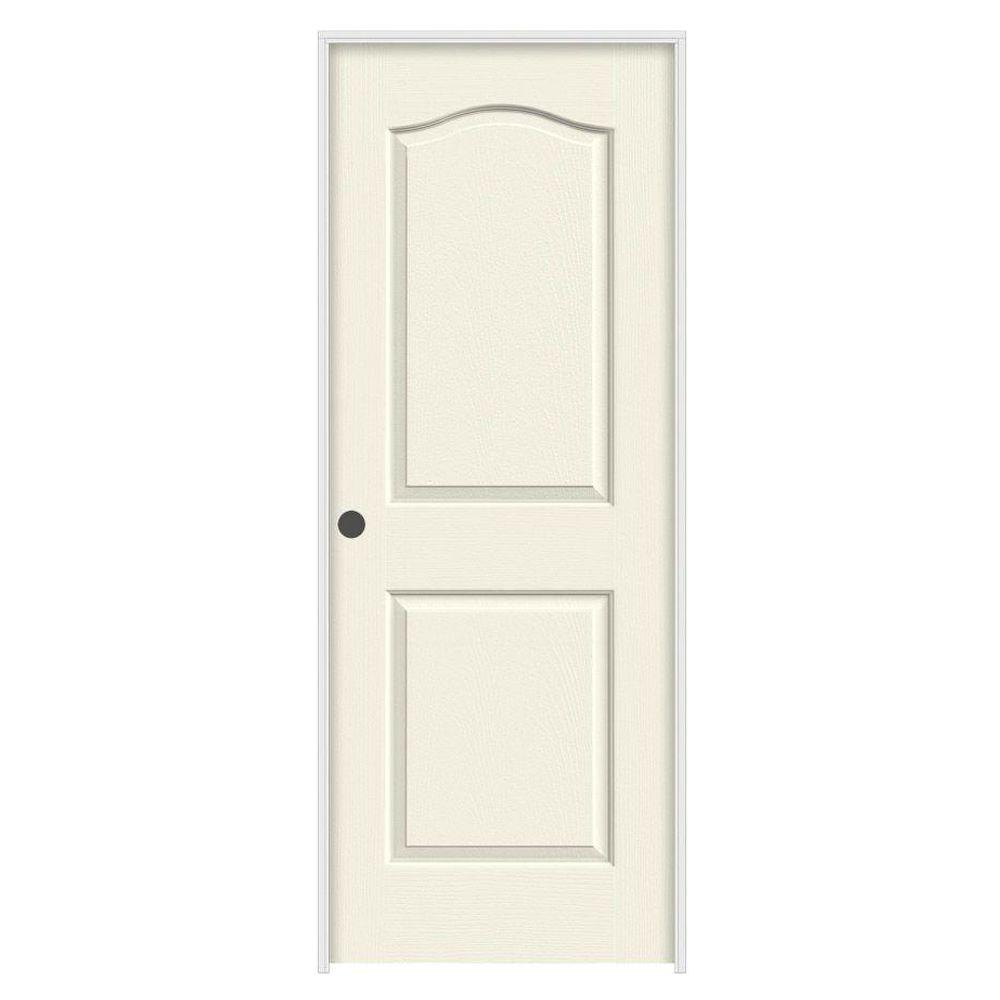 30 in. x 80 in. Camden Vanilla Painted Right-Hand Textured Molded