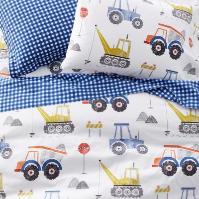 Construction Zone Graphic Organic Cotton Percale Duvet Cover