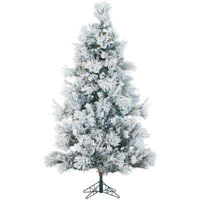 7.5 ft. Pre-lit Flocked Snowy Pine Artificial Christmas Tree with 650 Clear Smart String Lighting