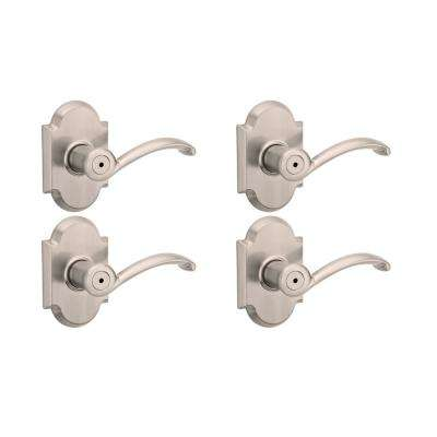 Austin Satin Nickel Privacy Bed/Bath Door Lever (4-Pack)