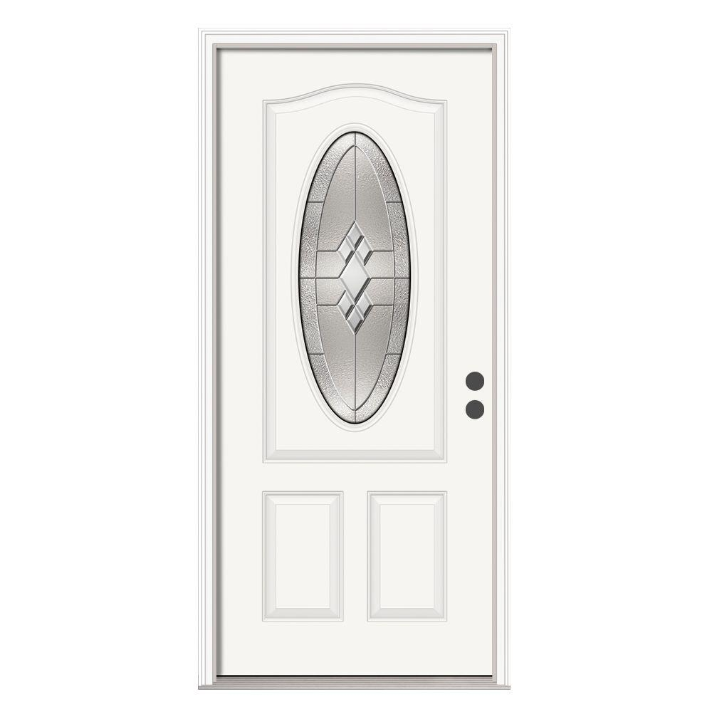 JELD-WEN 36 in. x 80 in. 3/4 Oval Lite Kingston Primed Steel Prehung Left-Hand Inswing Front Door w/Brickmould