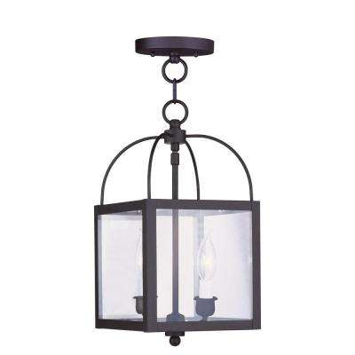 2-Light Black Pendant with Clear Glass Shade