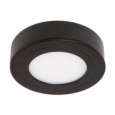 PureVue Dimmable Bright White LED Puck Light Matte Black Finish on