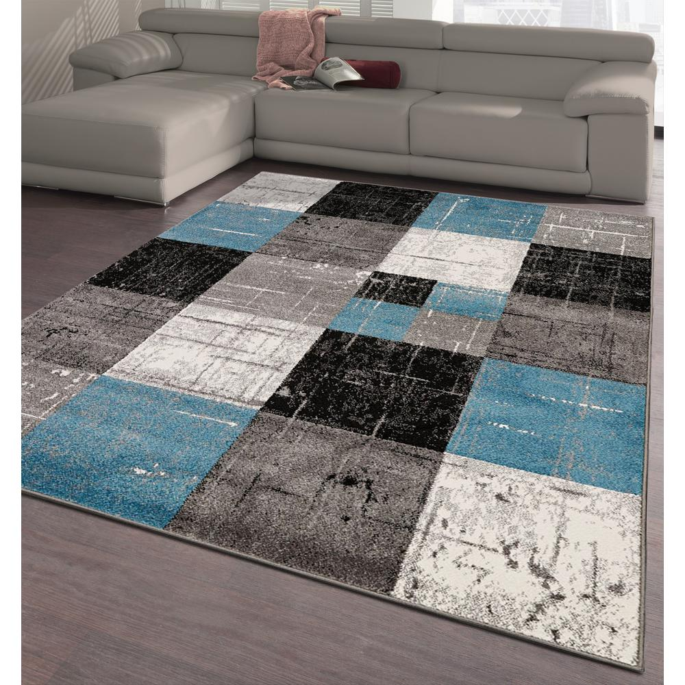 City Collection Blue Squares 5 Ft X 7 Indoor Area Rug