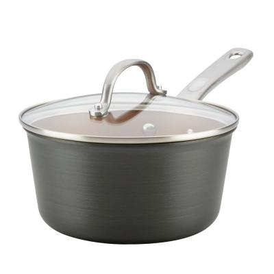 Home Collection 3 qt. Hard-Anodized Aluminum Nonstick Sauce Pan in Charcoal Gray with Glass Lid