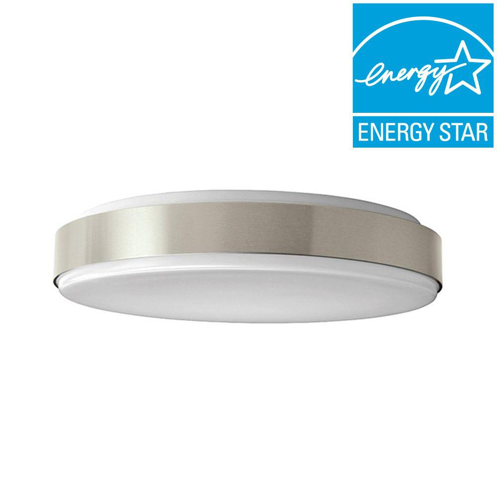 Led flushmount lights lighting the home depot brushed nickel led round ceiling flush mount light arubaitofo Image collections