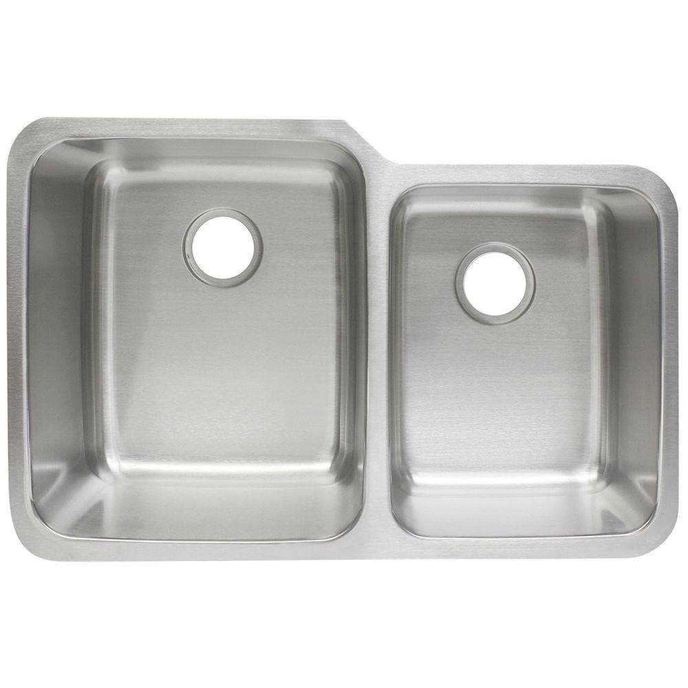 Franke Undermount Stainless Steel 32x21x10/8 0 Hole Double Bowl Kitchen Sink FCU104    The Home Depot