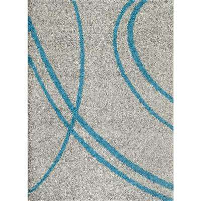 Soft Cozy Contemporary Stripe Turquoise Gray 9'x12' Indoor Shag Area Rug