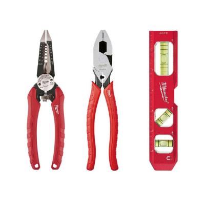 Lineman's Pliers, Torpedo Level and Wire Strippers Hand Tool Set (3-Piece)