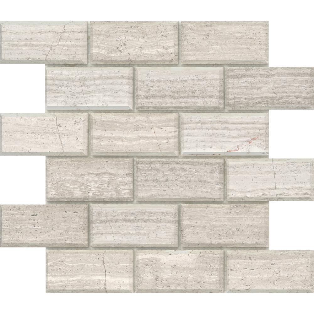 Marble Cream 12.01 in. x 12.01 in. Geometric Honed Limestone Mosaic Tile (0.985 sq. ft./Each)