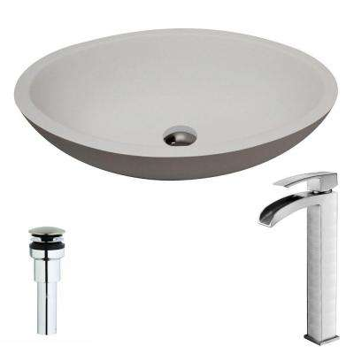 Maine Series 1-Piece Man Made Stone Vessel Sink in Matte White with Key Faucet in Brushed Nickel