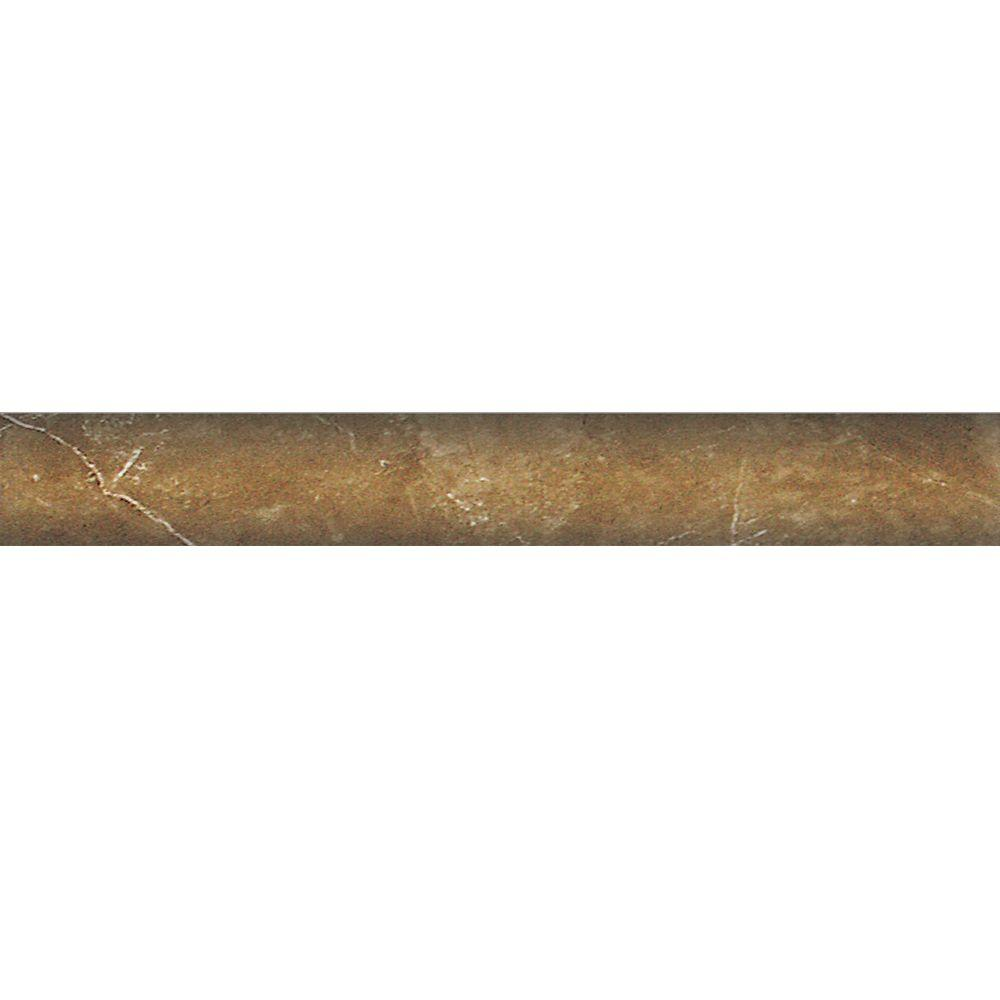 PORCELANOSA Kali 1 in. x 8 in. Tobaco Ceramic Quarter Round Trim Tile-DISCONTINUED