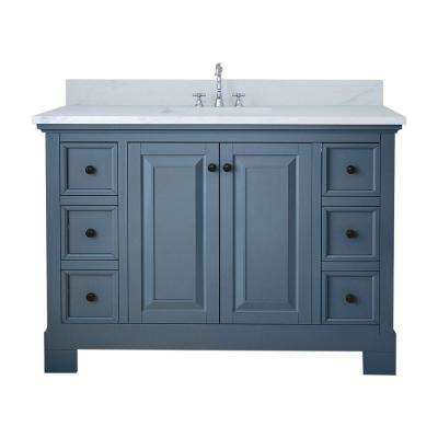 Richmond 48 in. W x 22 in. D Bath Vanity in Gray with Marble Vanity Top in White with White Basin