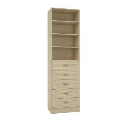 15 in. D x 24 in. W x 84 in. H Sienna Almond Melamine with 4-Shelves and 5-Drawers Closet System Kit