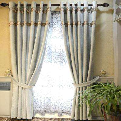 72 in. x 144 in. Telescoping 1 in. Curtain Rod in Brown with Fluted Egg Finial