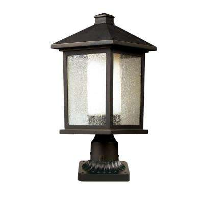 Ryker 1-Light Outdoor Oil Rubbed Bronze Post Light with Clear Seedy and Matte Opal Glass Shade