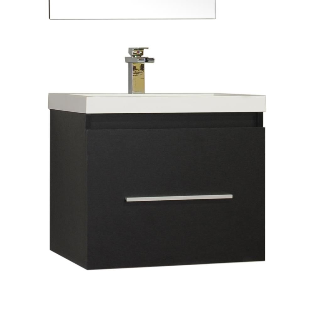 Ripley 24 In Single Wall Mount Modern Bathroom Vanity Black With Top White Basin Without Mirror