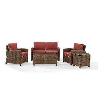 Bradenton 5-Piece Wicker Patio Outdoor Conversation Set with Sangria Cushions