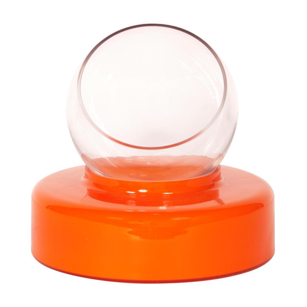 Large Hand-Blown Orange Opaque Round Glass Decorative Vase