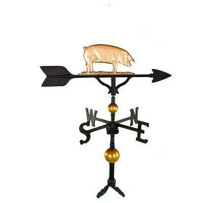 32 in. Deluxe Gold Pig Weathervane
