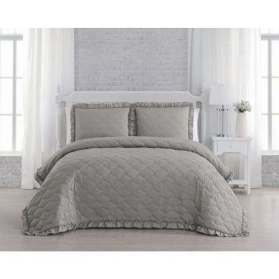 Melody Taupe Queen Quilt Set (3-piece)